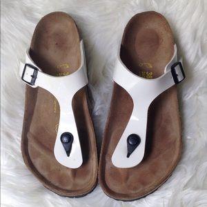 Birkenstock Sandals Gized White Flip Flops Size 38